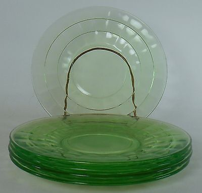 ANCHOR HOCKING glass BLOCK OPTIC-GREEN pattern Set of Five (5) Bread Plates