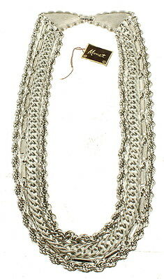 """Vintage Monet Cool 4 Strand Mixed Chain Mod Necklace Old New Stock 13.5""""-16"""""""