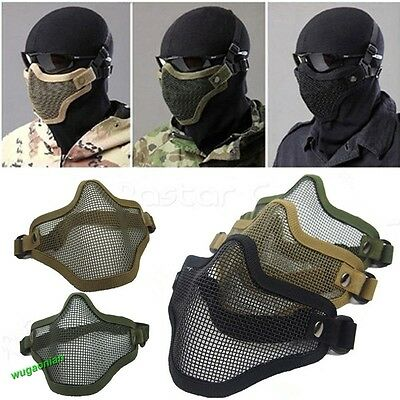 New Airsoft Steel Wire Mesh Half Face Mask Tactical Hunting Protection Skirmish