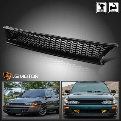 For 1993 1997 Toyota Corolla JDM Black Front Upper Grille Crown Logo Grill