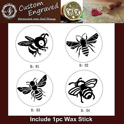 1pc 4 Styles of Honey Bee Insect Wax Seal Stamp Branding Iron + 1 Wax Stick
