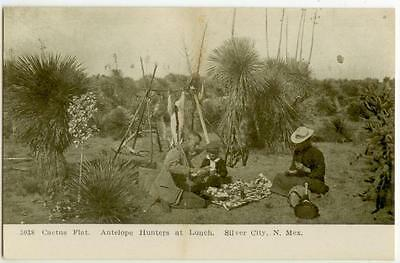 c1905 Silver City New Mexico Cactus Flat - Antelope Hunters at Lunch