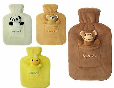 Hot Water Bottle with Fleece Fur Warm Animal Cover 2Ltr Large Rubber HighQuality