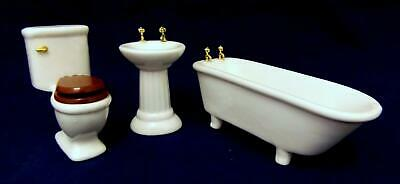 Dolls House Miniature 1:12 Furniture Set Plain White Porcelain Bathroom Suite