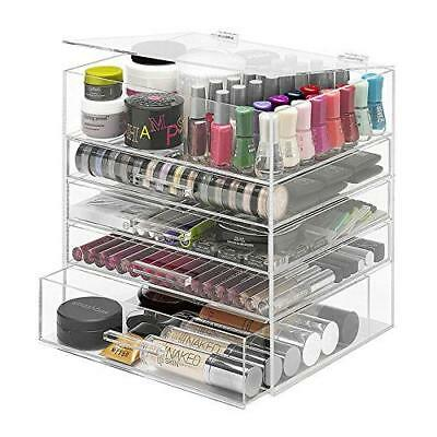 Whitmor 5-Tier Acrylic Cosmetic Organizer, Clear New