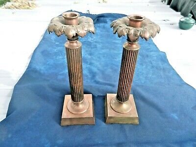 Pair Of Art Nouveau Brass Copper Bronze Candle Sticks Candle Holders