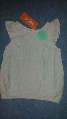 NWT Gymboree Ice Cream Parlor Striped Flutter Sleeve Mint Green Corsage Top, 2T