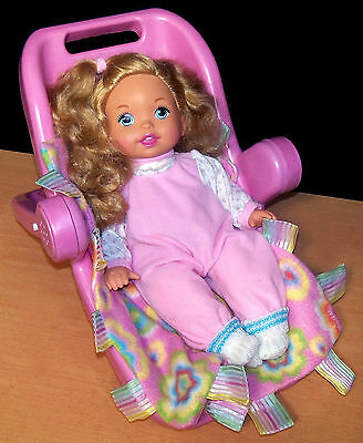 Fisher-Price Little Mommy Doll with Blonde Curls in Seat w/ Blanket - VGC