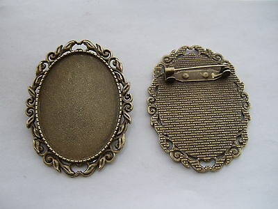 3 Antique Bronze Blanks Cabochon Bezel Settings Base 30x40mm Brooch Pins