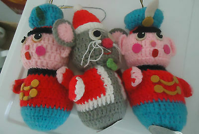 DAKIN 2 Soldiers 1 Mouse 1977-8 stuffed knit Christmas ornaments toys vintage