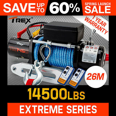 NEW T-REX Electric Winch 14500LBS Wireless Remote 6577KG 26M Synthetic Cable 12V