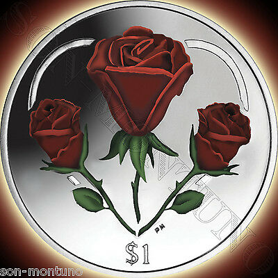 2015 HEART OF ROSES Colorized CUPRO-NICKEL $1 UNC Coin BRITISH VIRGIN ISLANDS
