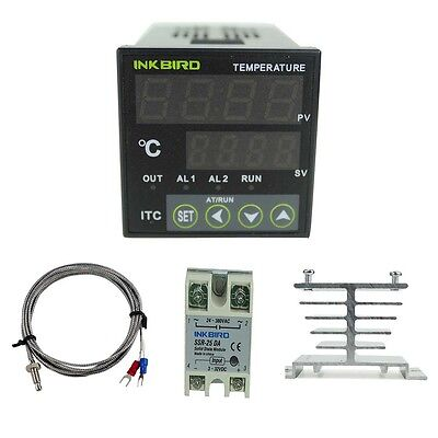 Digital Temperature Temp Controller 220V PID + K Sensor + SSR 25A + Heat Sink CE
