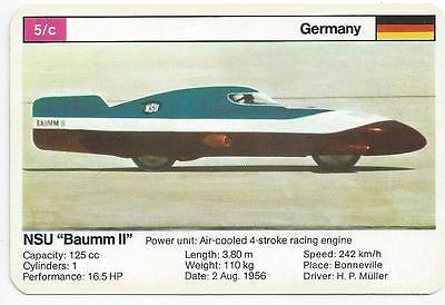 "Top Trumps - World Record Holders - Card 5C - Nsu ""baumm Ii"" (Ampv)"