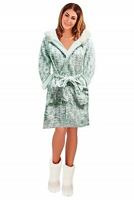 Womens Short Hooded Dressing Gown Bath Robe Housecoat + Belt Ladies Size UK 6-16