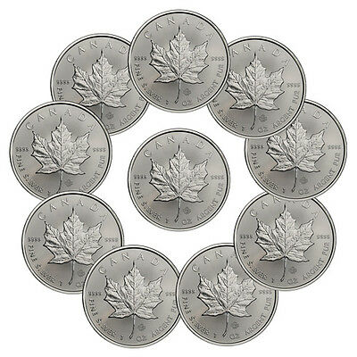 Lot of 10 - 2016 Canada 1 Troy Oz .9999 Fine Silver Maple Leaf $5 Coins SKU37996