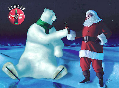 Good Friends Coke Coca Cola Polar Bear Santa Claus Christmas Cel Ad NEW