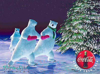 Enchanted Evening Coke Coca-Cola Polar Bears Skating Cel Art Ad Christmas NEW