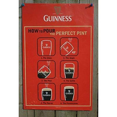 Guinness 12X18 How to Pour the Perfect Pint Metal Beer Sign New