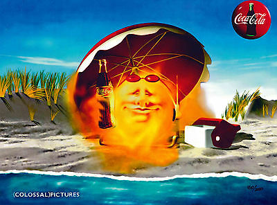 Coke Coca-Cola Sunday at the Beach Summer Lithocel Advertising Soda Art Ad
