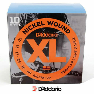 D'addario EXL110 10 Pack Regular Electric 10-46 Guitar Strings Sets Daddario