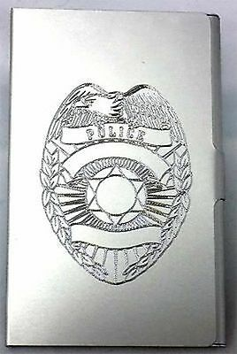 POLICE BADGE Engraved Business Credit ID Card Case Patch Holder Gift BUS-0246