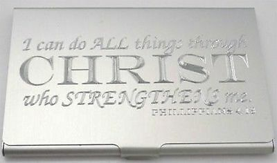 DO ALL THINGS CHRIST Jesus Christian Engraved Business Card Case Holder BUS-0135