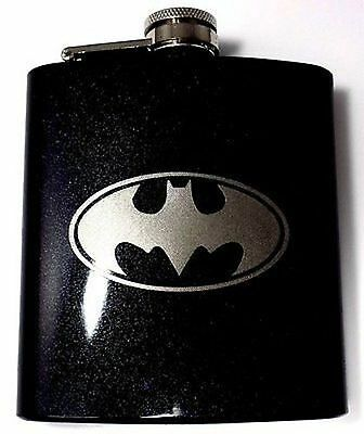 Batman Engraved New Black 6oz Glitter Painted Favor Hip Flask Liquor FEN-0017