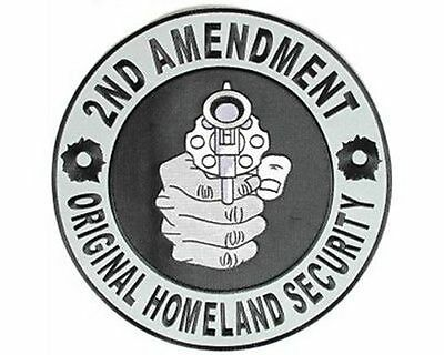 2nd Second Amendment Pointing Gun NRA Large Motorcycle Biker Back Patch LRG-0498