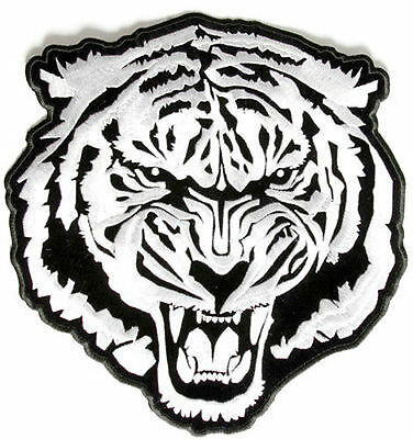 Baron White Tiger Embroidered Motorcycle Quality Biker NEW BACK Patch LRG-0350