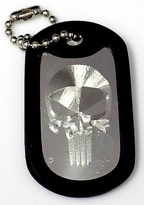 "Punisher Skull & 4"" Keychain Dog Tag Stainless Steel Chain Rubber Edge EDG-0047"