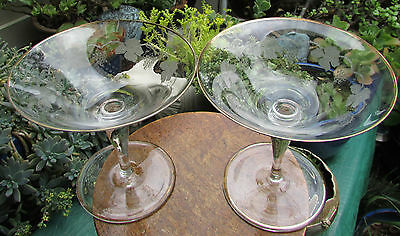 Stunning Pair Bohemia Etched Glass Comports Grape Vines