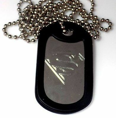 "Superman Hero & 30"" Pendant Dog Tag Stainless Steel Chain Rubber Edge EDG-0060"