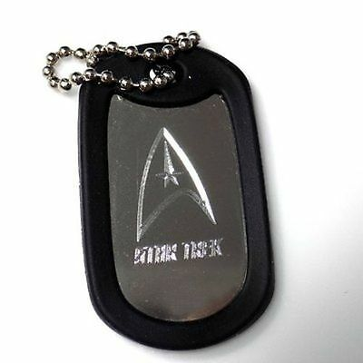 """Star Trek New Chain With 4"""" Chain Dog Tag Stainless Steel / Rubber Edge EDG-0130"""