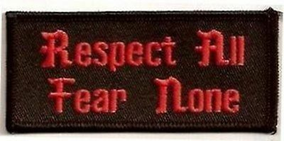 RESPECT ALL Fun Embroidered Motorcycle MC Club Quality Biker Vest Patch PAT-1523