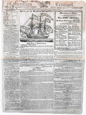 Newspaper Massachusetts John Brooks Governor Campaign Navy Tars Ship Woodcut1816