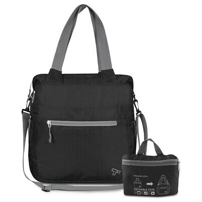 Travelon Lightweight Folding Crossbody Tote - Black