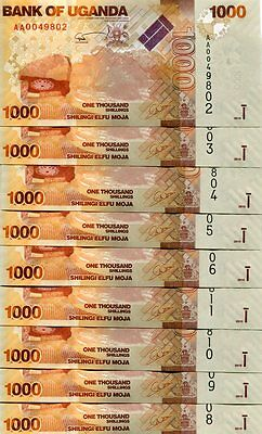 UGANDA 1000 SHILLINGS 2010 P-49 UNC LOT 10 Pieces (PCS)