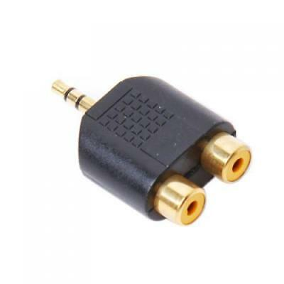 Male 3.5mm Stereo Jack Plug to 2 RCA Female Adapter Converter Phono Socket