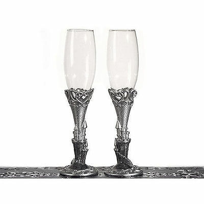 Platinum Castle Collection Fairytale Wedding Toasting Glasses Set of 2