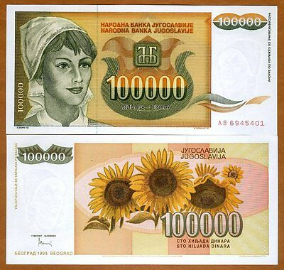 Yugoslavia, 100000 (100,000) Dinara 1993, Pick 118 UNC > Young Woman, Sunflowers