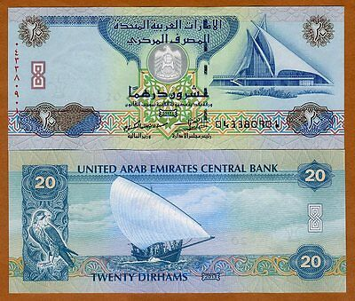 United Arab Emirates, 20 Dirhams, 2013, P-28c, UNC > Dhow, Sparrowhawk