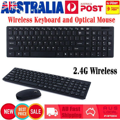 Wireless Keyboard and Optical Mouse USB Receiver Cordless Desktop Windows Black