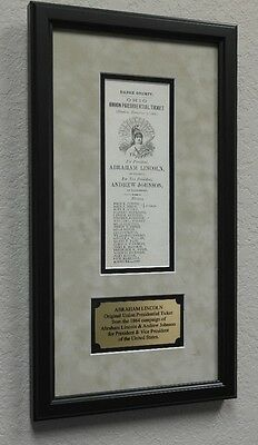 Abraham Lincoln 1864 Framed Election Ticket