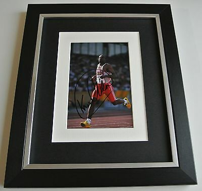 Kriss Akabusi SIGNED 10x8 FRAMED Photo Autograph Display Olympic Sport AFTAL COA