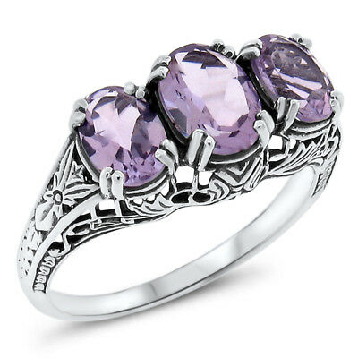 GENUINE AMETHYST .925 STERLING SILVER ANTIQUE STYLE RING SIZE 8.75,#561