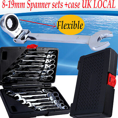 12pc Ratchet Spanner Tool Set 8-19mm Flexible Ratcheting Wrench Spanners Garage