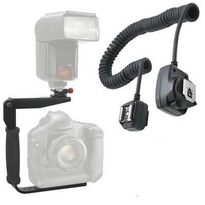180 Degree Rotating Flash Bracket & Off-Camera Flash Cord for Canon Cameras