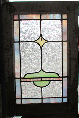 ~ ANTIQUE AMERICAN STAINED GLASS WINDOW ~ 16 x  25 ~ ARCHITECTURAL SALVAGE ~