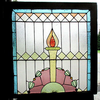 ~ ANTIQUE AMERICAN STAINED GLASS WINDOW ~ 34 x 35 ~ ARCHITECTURAL SALVAGE ~